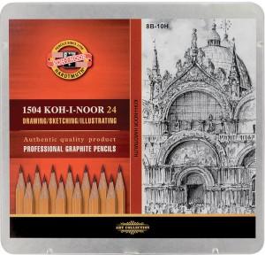 Набор карандашей графитовых Koh-i-Noor 'Professional' 8В-2Н, 24 шт. (1504)