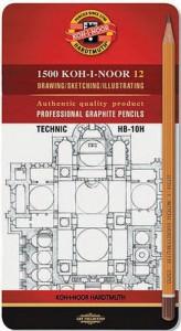 Набор карандашей графитовых Koh-i-Noor 'Technic' НВ-10Н, 12 шт. (1502.І)