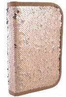 Пенал твёрдый одинарный с двумя клапанами 'Sequins',золото (532423)