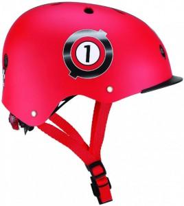 Шлем защитный детский GLOBBER 'Гонки красный' с фонариком, 48-53см (XS/S) (4897070184510)