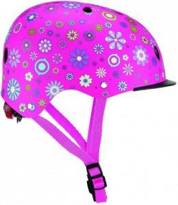 Шлем защитный детский Globber с фонариком Цветы розовый (507-110) (4897070184527)