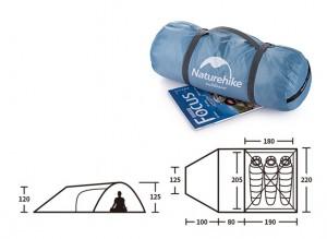 фото Палатка туристическая Naturehike Knight 3+UPF50 190T polyester (NH19G001-Y) #5