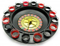 Подарок Настольная игра 'Рулетка с рюмками' черная 33х33х9 см (S16R)