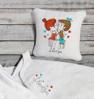 Подарок Подарочный набор: подушка + плед 'I love you' 27
