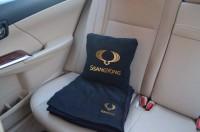 Подарок Плед-подушка автомобильный с вышивкой 'SsangYong', в чехле