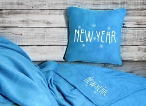 Подарок Набор: подушка + плед 'New Year' 25