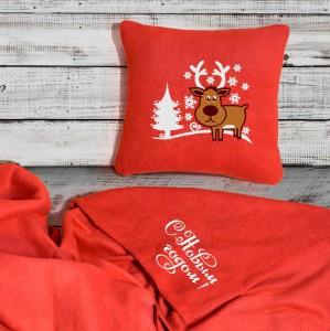 Подарок Набор: подушка + плед 'С Новым Годом' 23