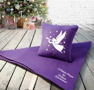 Подарок Набор: подушка + плед 'З Новим Роком та Різдвом!' 27