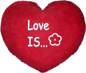 Подарок Подушка-Валентинка в форме сердца  'Love is...'