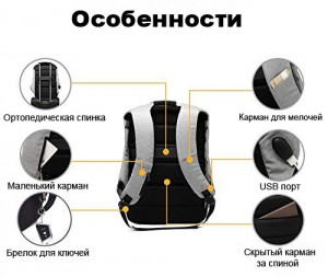 фото Рюкзак антивор UFT 'Solar Backpack' Black/Grey (UFTSBP1) #8