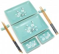 Подарок Сервиз для суши 'Бирюзовый с цветами сакуры', 2 персоны (DN29748)