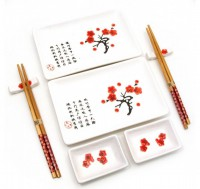 Сервиз для суши, белый с цветами сакуры (DN23680)