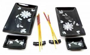 Сервиз для суши, черный с цветами (DN23675)
