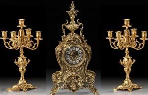 Подарок Подарочный набор Virtus Часы с двумя канделябрами на 5 свечей Golfino +Bola, бронза (5156-4020SET)