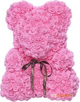 Подарок Мишка из роз c сердцем 60см UFT Bear Flowers UFT BS3 Pink