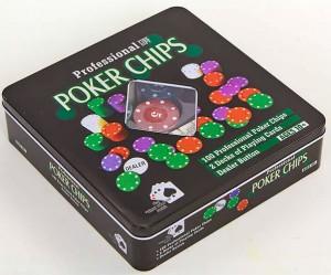 фото Настольная игра Johnshen Sports 'Покерный набор на 100 фишек с номиналом (жестяная коробка)' (IG-2033) #4